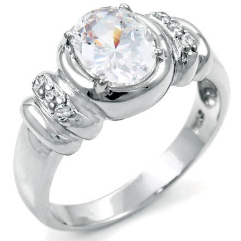 .925 Sterling Silver Oval Cubic Zirconia Ring