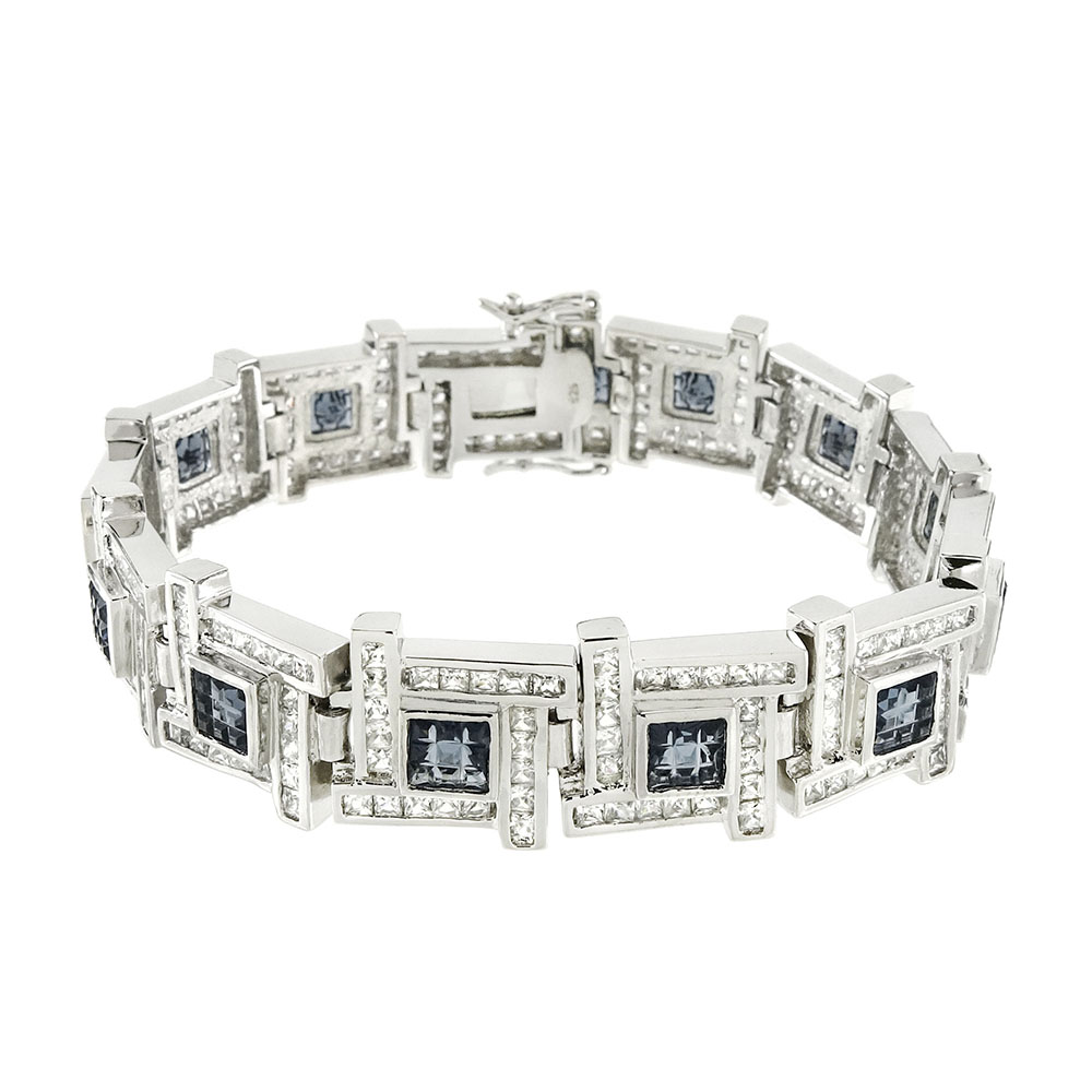 .925 Sterling Silver Invisible Sapphire Blue CZ Men Bracelet