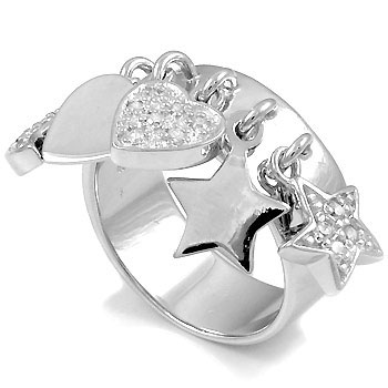 925 Silver Heart & Star Charms CZ Ring