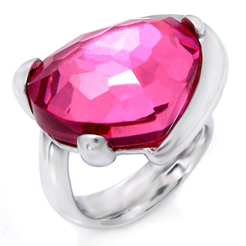 925 Silver Pink Crystal Heart Shape Ring