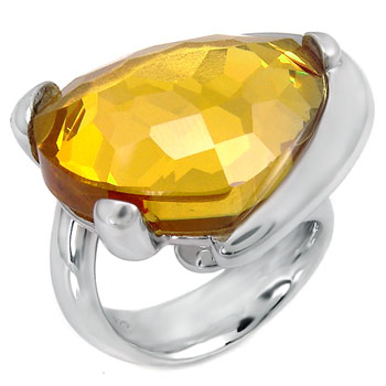 925 Silver Yellow Crystal Heart Shape Ring