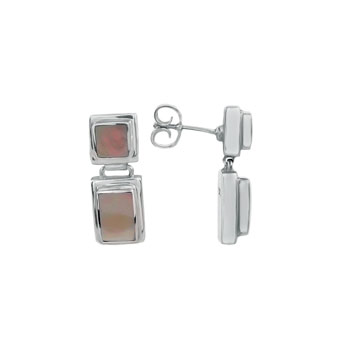 925 Sterling Silver W/ Square & Rectangle Shell Fashion Earrings
