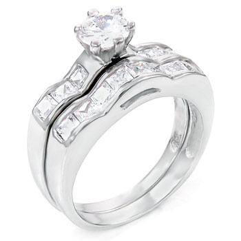 925 Silver Princess & Round CZ Wedding Ring Set