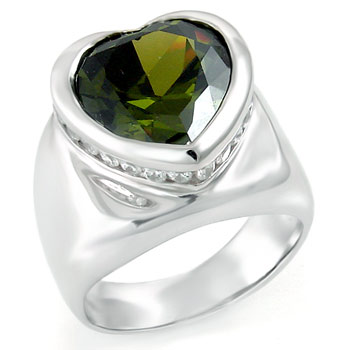 925 Silver Heart Shape Olive & Round CZ Ring