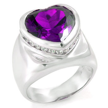 925 Silver Heart Shape Amethyst & Round CZ Ring