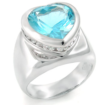 925 Silver Heart Shape Aquamarine & Round CZ Ring