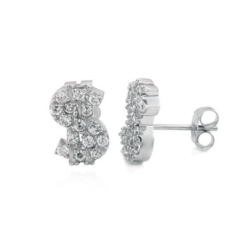 Sterling Silver Cubic Zirconia Dollar Sign Rhodium Stud Earrings