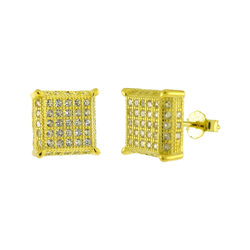 Sterling Silver 5 Lines Pave CZ Gold Plated Stud Earrings