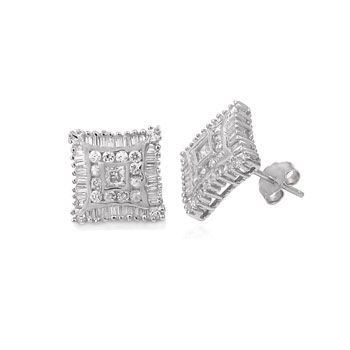 Sterling Silver Baguett & Round CZ Stud Earrings