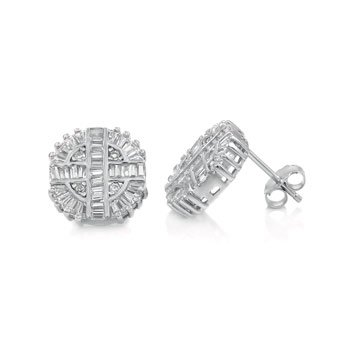 Sterling Silver Baguette & Round CZ Rhodium Stud Earrings