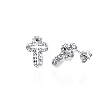Sterling Silver Cubic Zirconia CZ Cross Stud Earrings