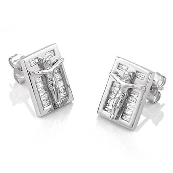 Sterling Silver Crucifix W. CZ Baguette Rhodium Stud Earrings