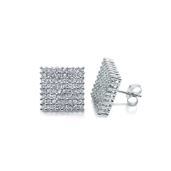 Sterling Silver Micro Pave CZ Rhodium Earrings