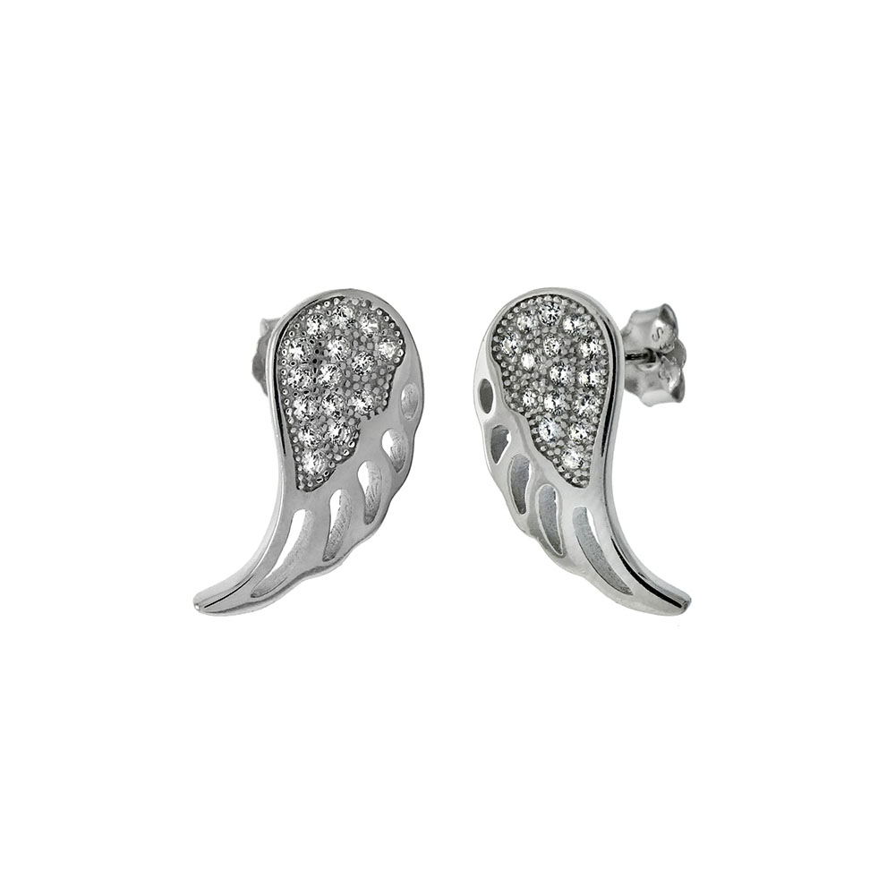 Sterling Silver Cubic Zirconia Angel Wing Stud Earrings