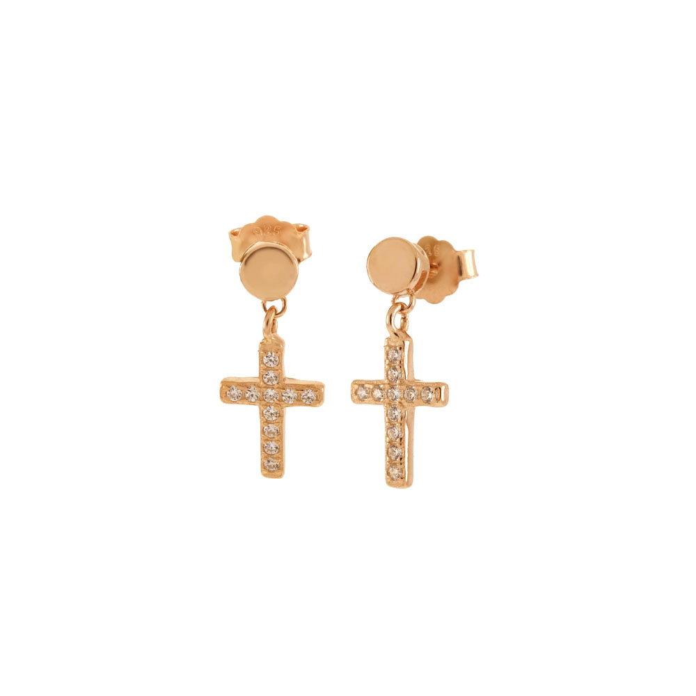 Sterling Silver CZ Cross Rose Gold Plated Stud Earrings