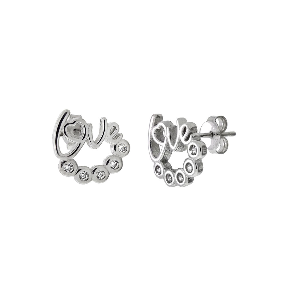 Sterling Silver Cubic Zirconia LOVE Stud Earrings