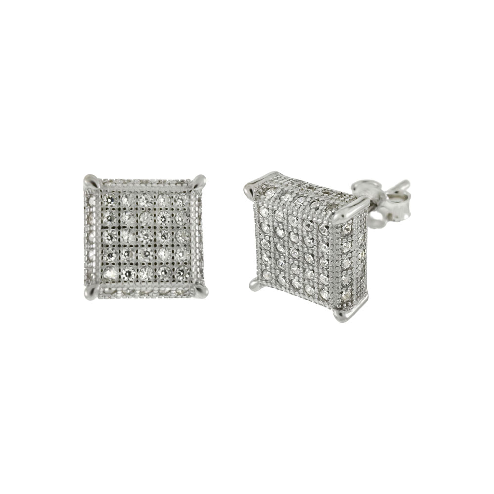 Sterling Silver 5 Lines Pave CZ Rhodium Stud Earrings