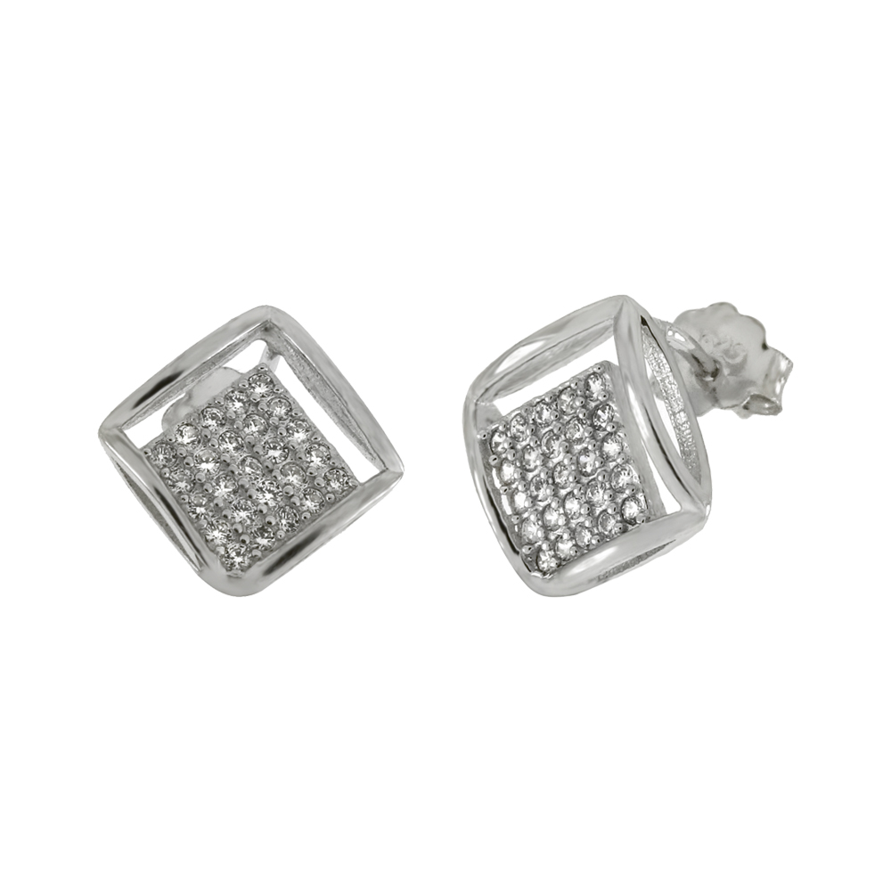 Sterling Silver 5 Lines Pave CZ Stud Earrings