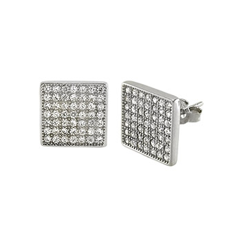 Sterling Silver Cubic Zirconia Pave Stud Earrings