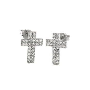 Sterling Silver Cubic Zirconia Cross Stud Earrings