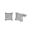 Sterling Silver 4 Lines Round CZ Stud Earrings