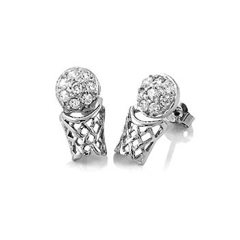 Sterling Silver Cubic Zirconia Basketball Hoop Rhodium Stud Earrings