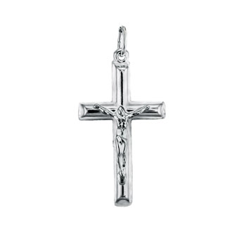 Italian Sterling Silver Jesus Christ Cross Pendant