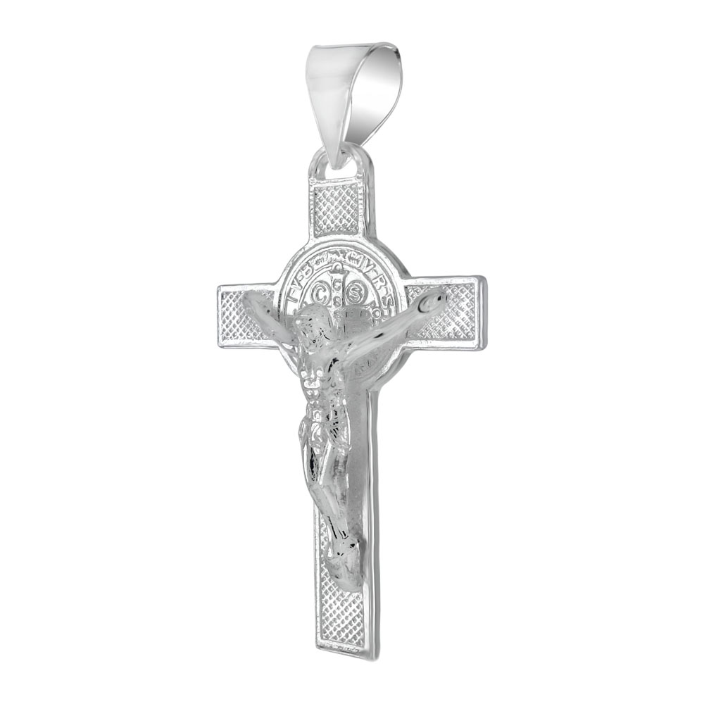 Sterling Silver San Benito Crucifix Cross Pendant