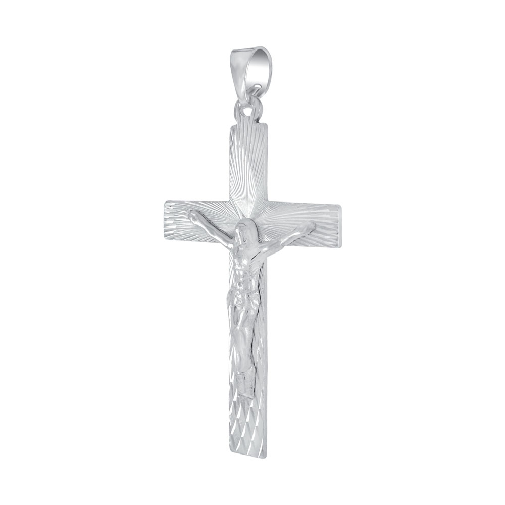 Sterling Silver D/C Crucifix Cross Pendant