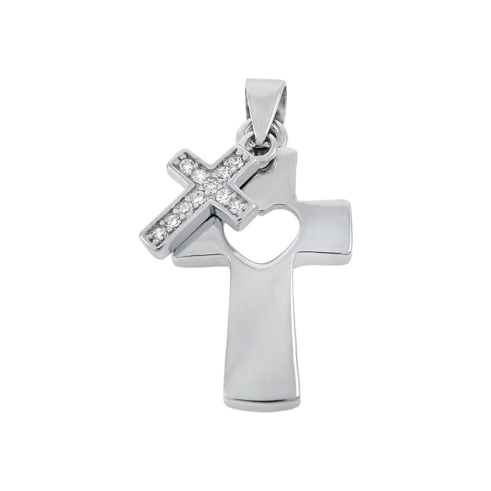 Sterling Silver Cubic Zirconia Double Cross Pendant
