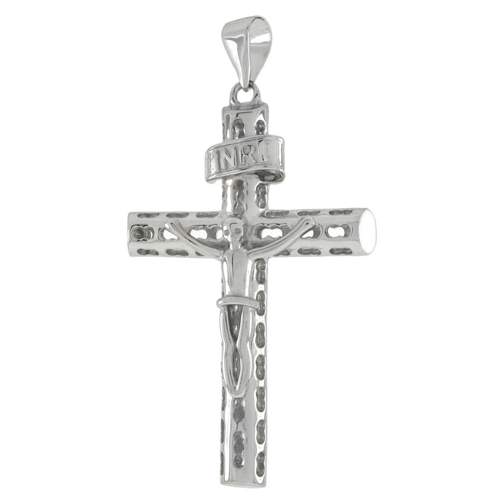 Sterling Silver Crucifix Cross RhodiumPendant
