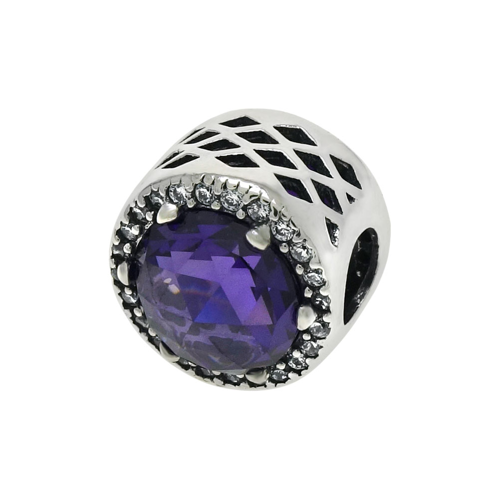 Double Side Purple Crystal & Clear CZ Bead Charm Pendant In Sterling Silver