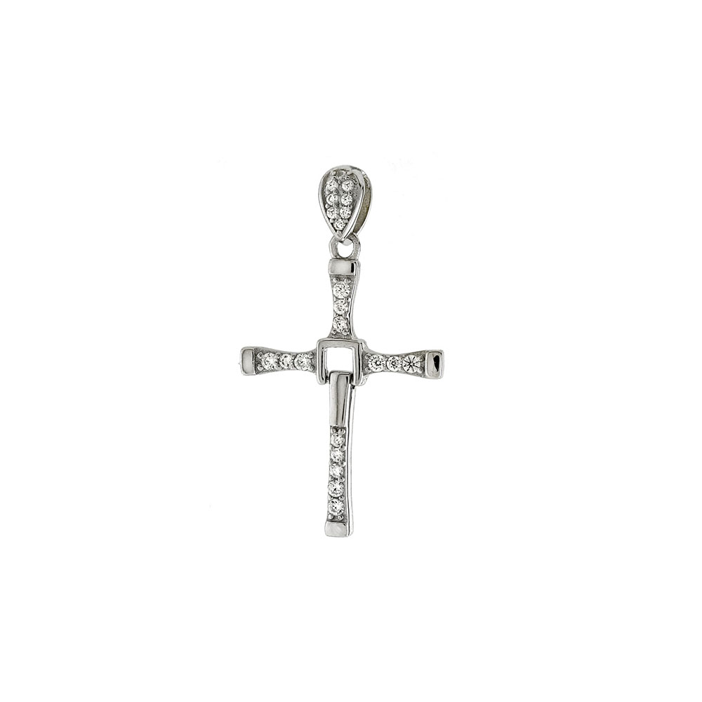 Sterling Silver Moveable CZ Cross Pendant