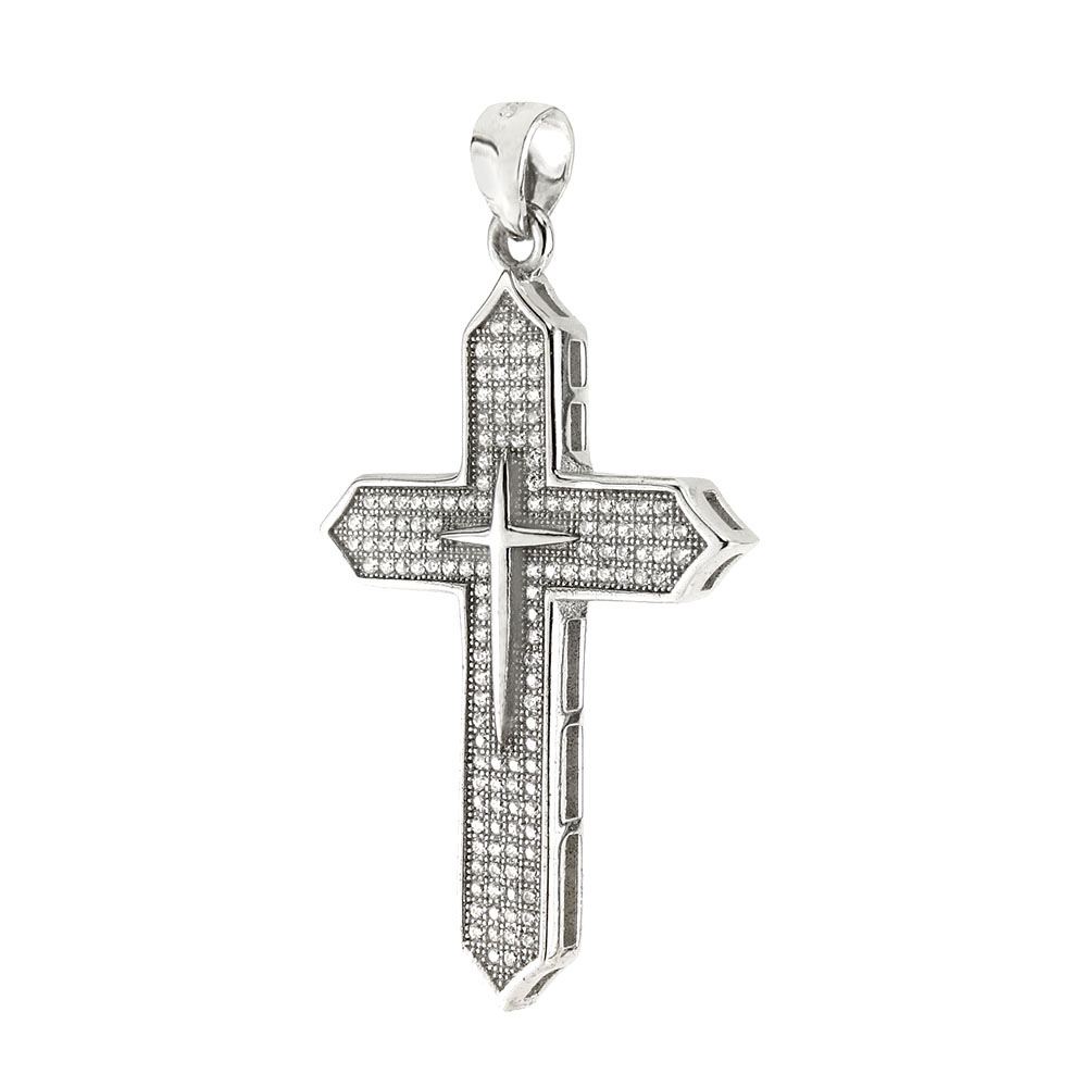 925 Silver Cubic Zirconia Micro Pave Setting Cross Pendant