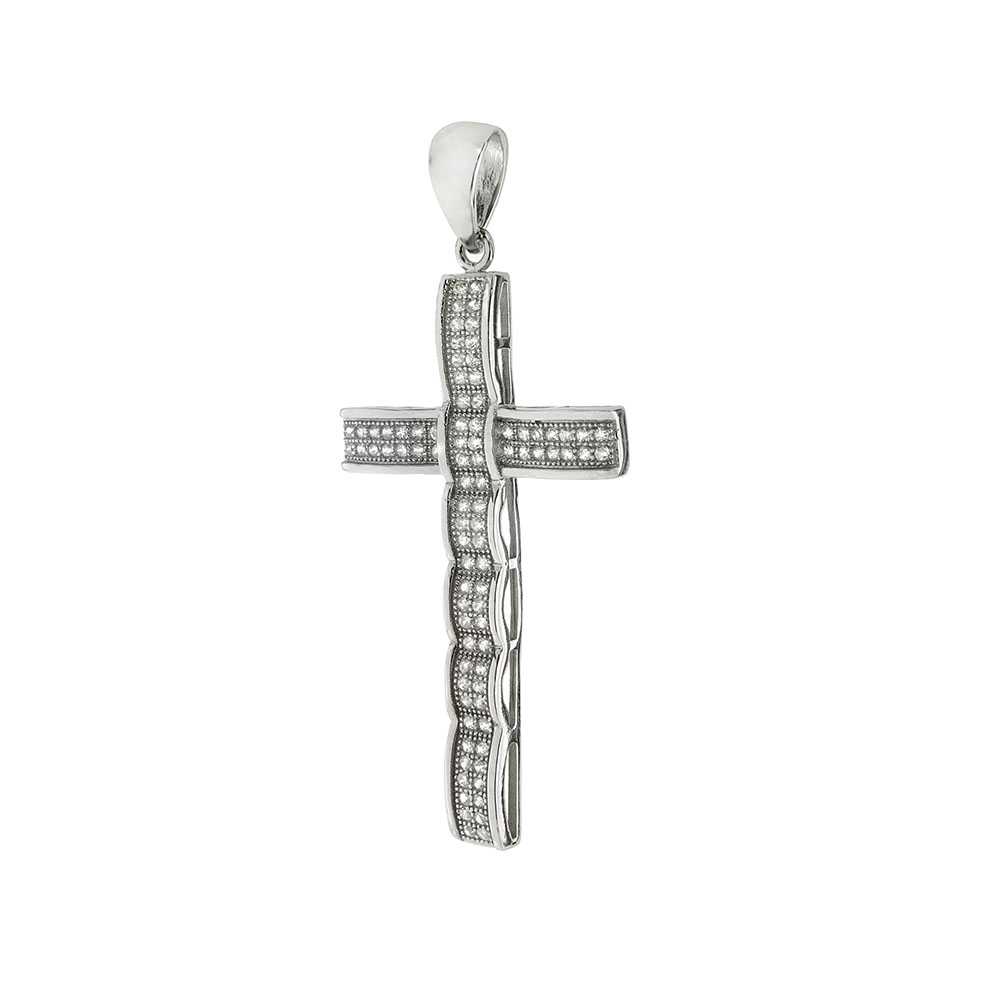 Sterling Silver Cubic Zirconia Micro Pave Setting Cross Pendant