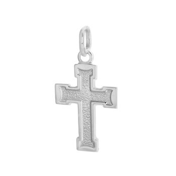 925 Italian Silver Mesh Finish Cross Pendant