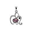 Sterling Silver CZ Elephant Light Purple Crystal Rhodium Pendant