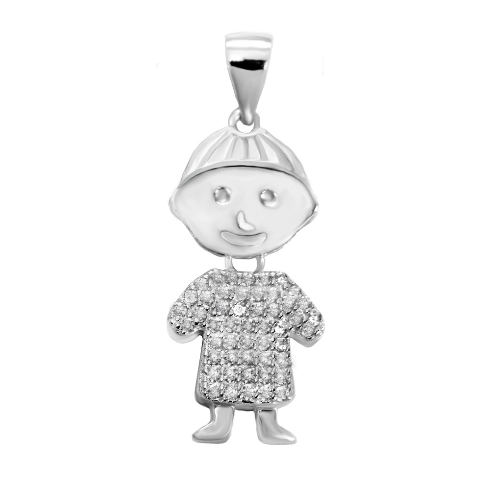 Sterling Silver Cubic Zirconia Boy Movable Pendant