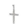 Sterling Silver Micro Pave CZ Cross Rhodium Pendant
