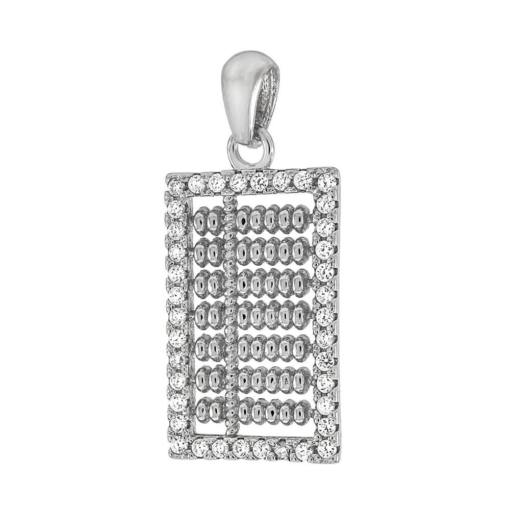 Sterling Silver Chinese Ancient Computing CZ Pendant