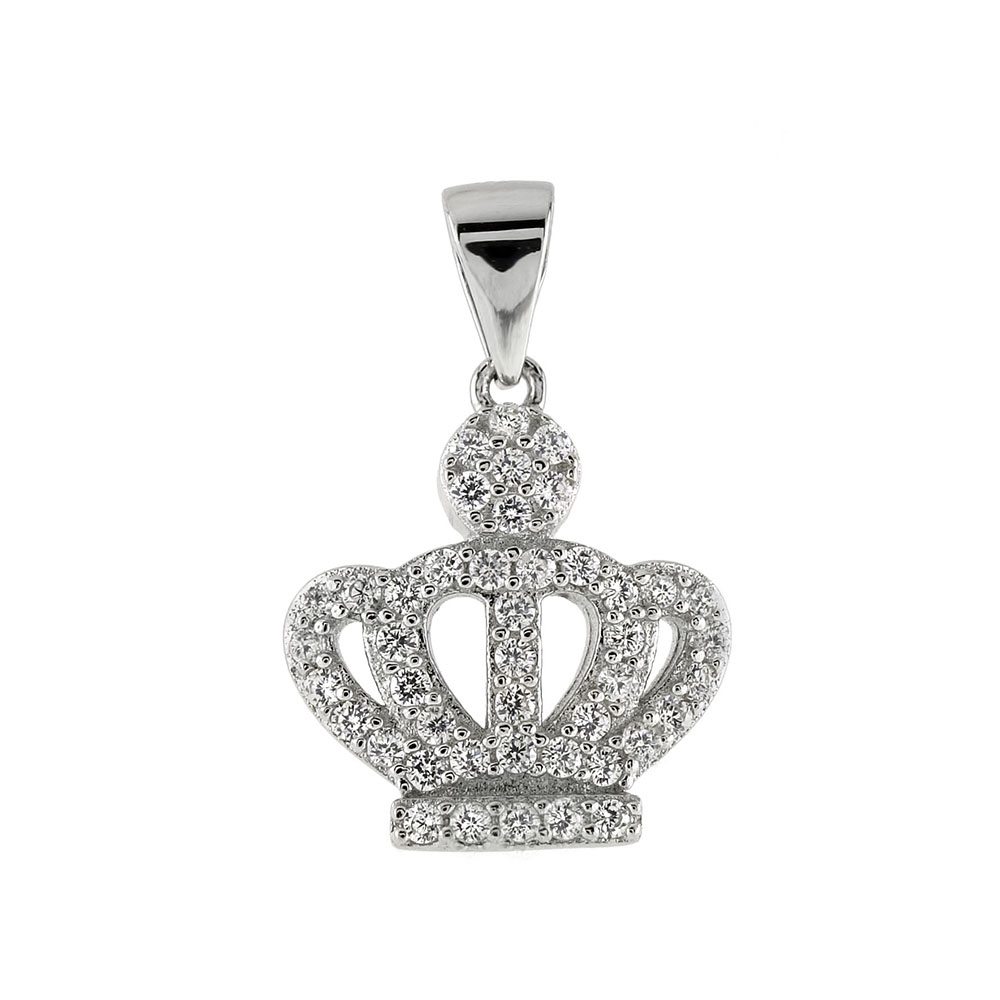 Sterling Silver Pave CZ Crown Pendant