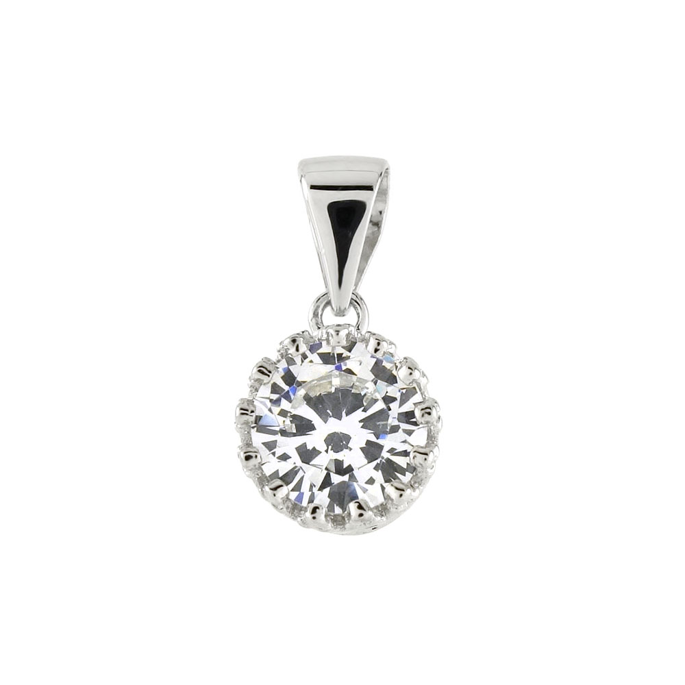 Sterling Silver 7MM CZ Solitaire Crown Pendant