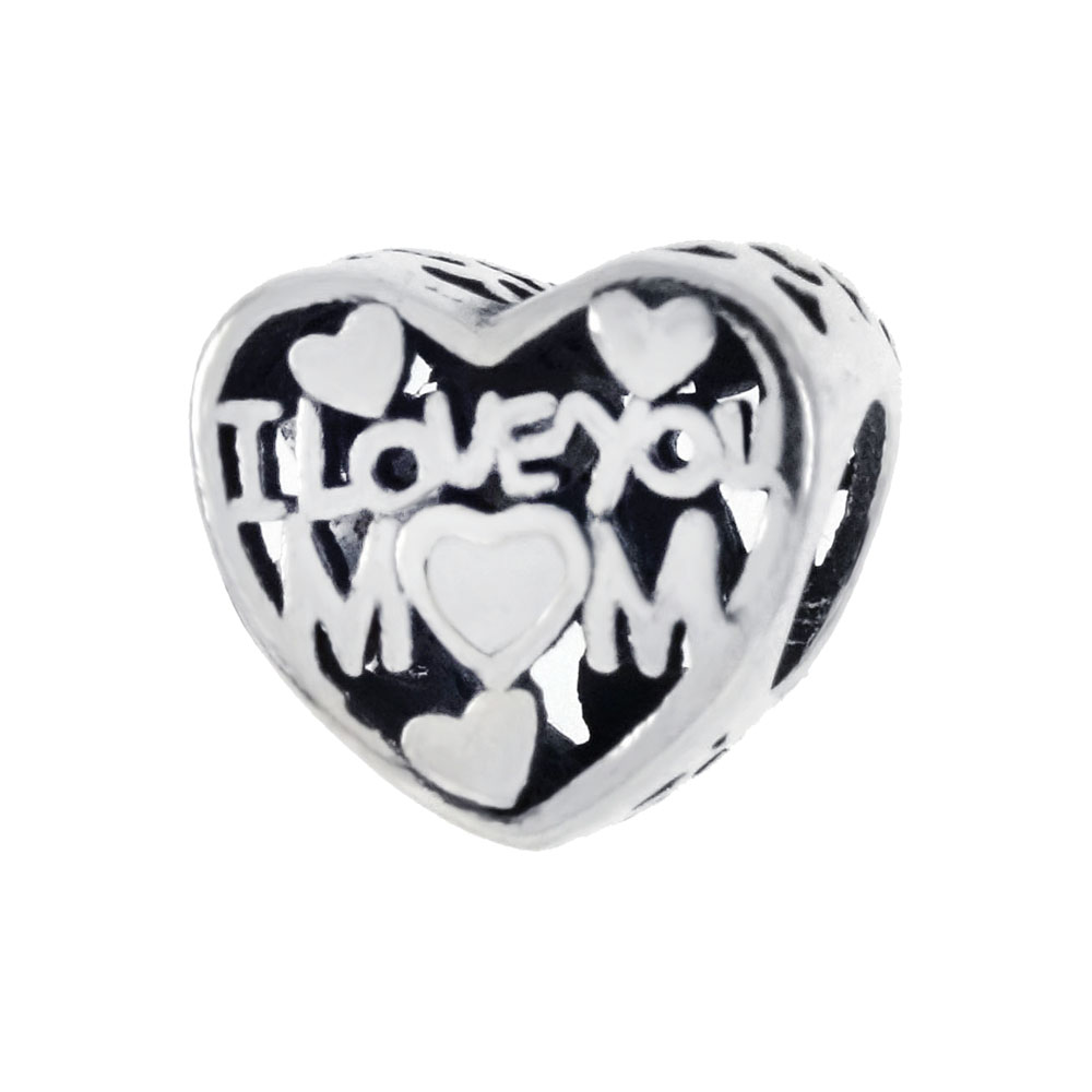 Sterling Silver I LOVE YOU MOM Heart Bead Charm Pendant