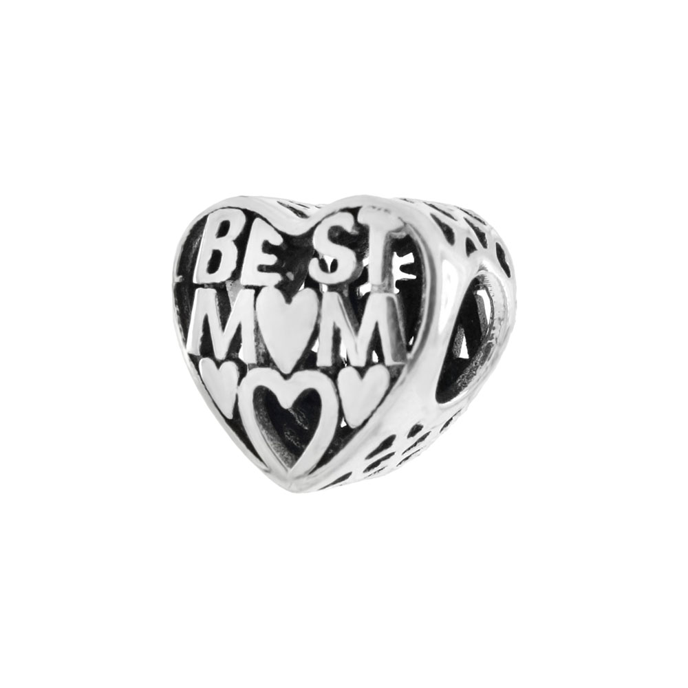 Sterling Silver BEST MOM Heart Bead Charm Oxidized Pendant