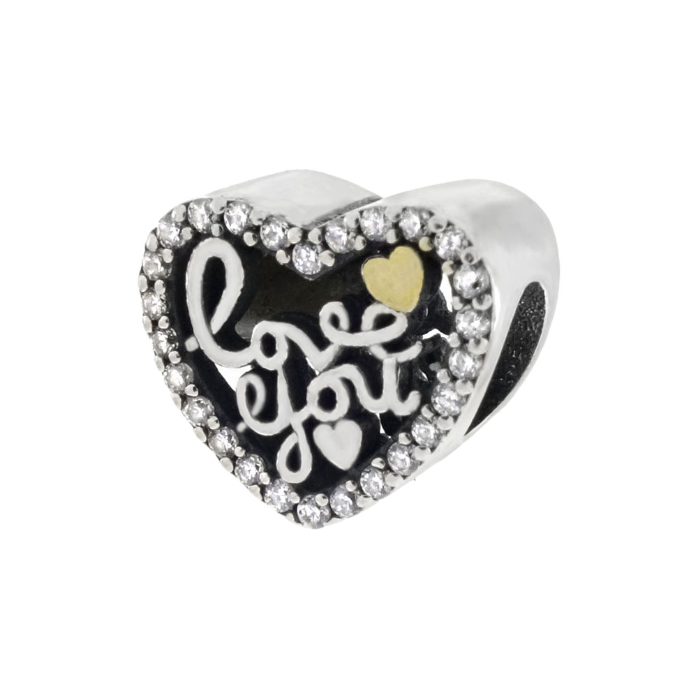Sterling Silver LOVE YOU CZ Heart Bead Charm Pendant