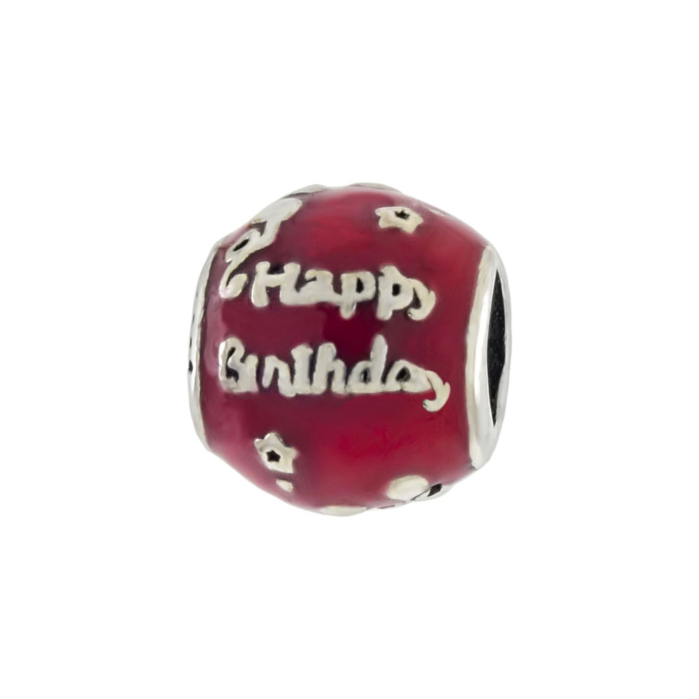 Sterling Silver Enamel HAPPY BIRTHDAY Bead Charm Pendant