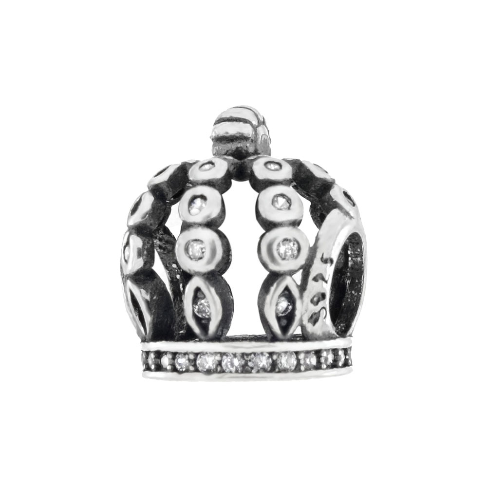 Sterling Silver CZ Crown Oxidized Bead Charm Pendant