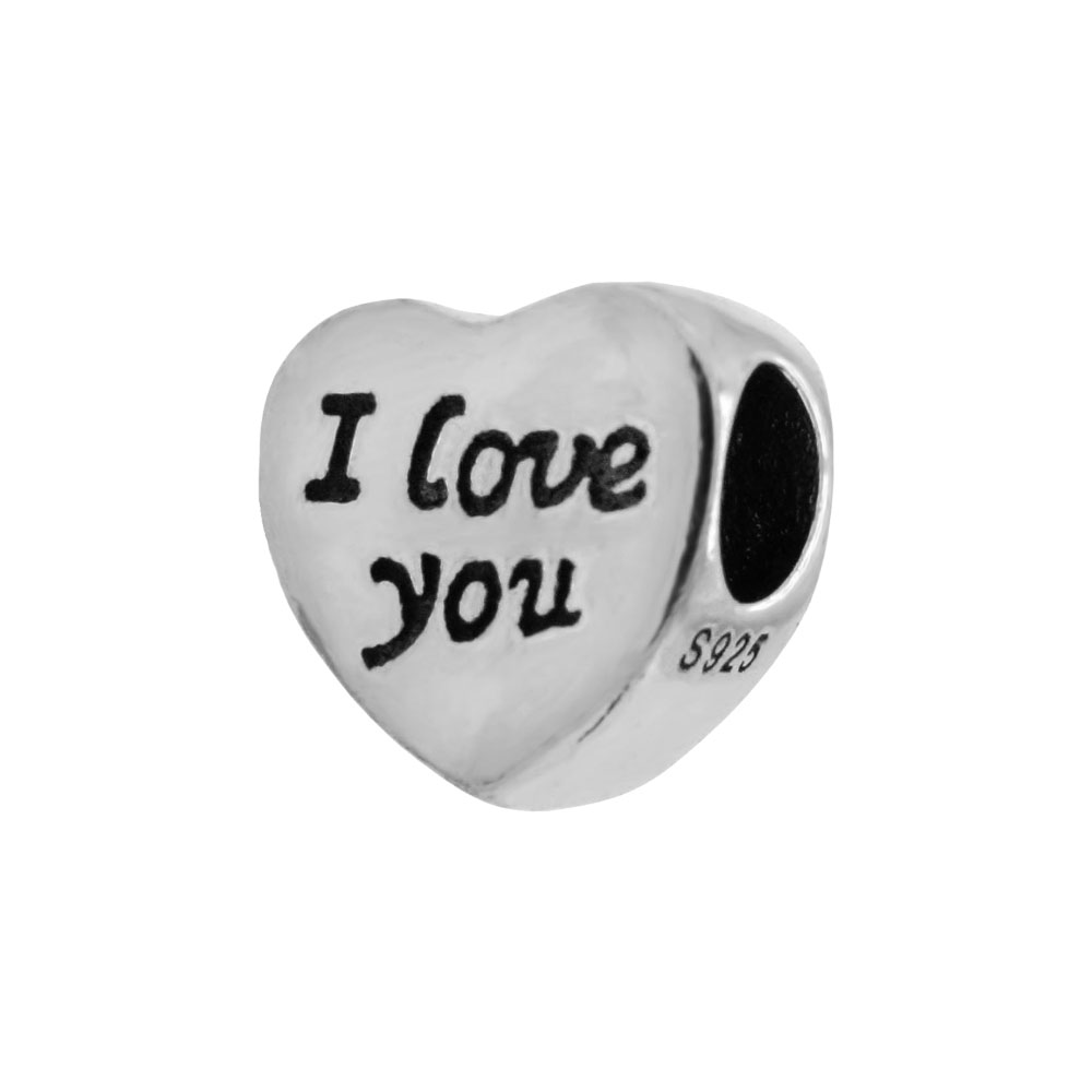 Sterling Silver I LOVE YOU Heart Bead Charm Pendant