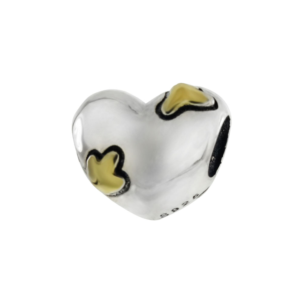 Sterling Silver 2 Tone Heart Bead Charm Pendant