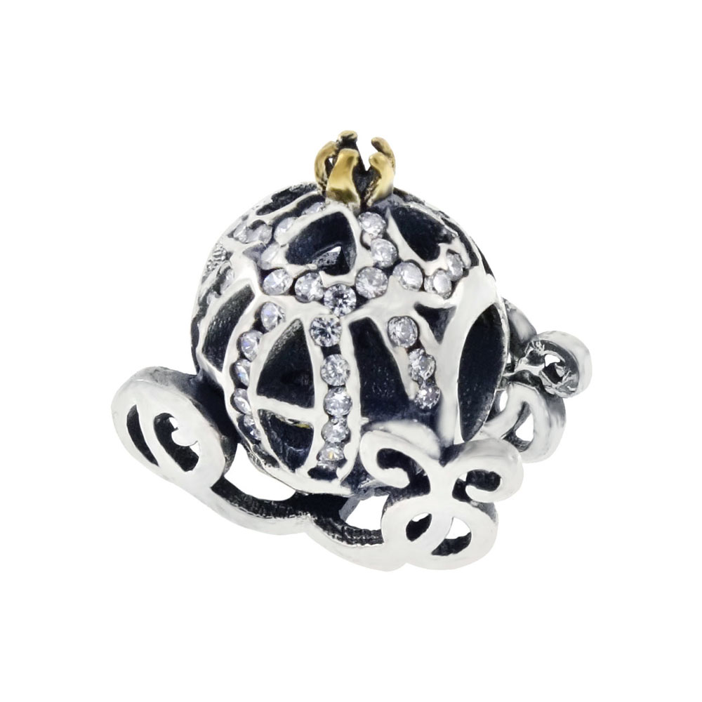Sterling Silver CZ Cinderella Carriage Bead Oxidized Charm Pendant